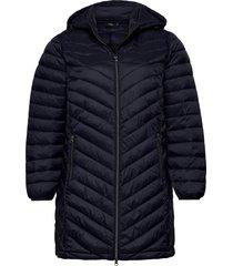 jaccket hood plus zip dupont quilted gevoerde lange jas blauw zizzi