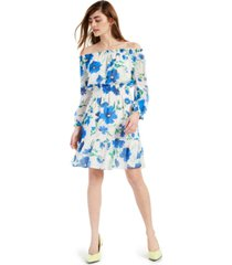 bar iii off-the-shoulder printed chiffon dress, created for macy's