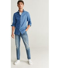 chambray katoenen slim-fit overhemd