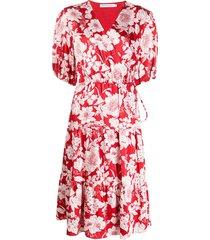 rebecca minkoff floral midi dress - red