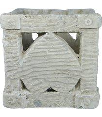 vaso  de concreto valentine cubo kasa ideia - branco - dafiti