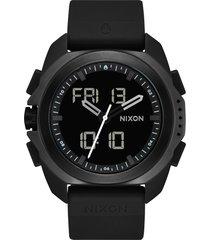 nixon ripley ana-digi silicone strap watch, 47mm in black at nordstrom