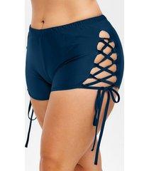 plus size side lace up elastic waist swim shorts