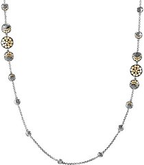 18k yellow gold & sterling silver moon phase hammered station necklace