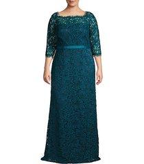plus boatneck eyelash lace gown