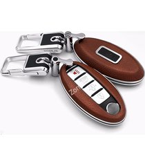 luxury real leather key case cover for nissan 370z altima cube gt-r maxima muran