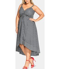 city chic trendy plus size gingham-print fit & flare dress