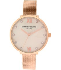 christian siriano women's analog rosegold-tone mop stainless steel mesh watch 38mm