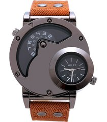 luxury genuine leather watch double time zoe sport quartz-watch steam pu casual