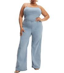 plus size women's good american vacay sleeveless rib jumpsuit, size 7 - blue