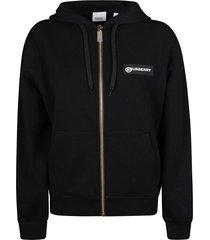 burberry check sleeve logo print hoodie