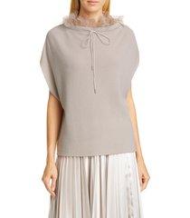 women's fabiana filippi organza trim cashmere rib cape sweater, size 12 us / 48 it - beige