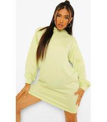 petite sweatshirt jurk met capuchon en ballonmouwen, washed lime
