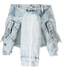 alexander wang tie-detailed denim skort - blue
