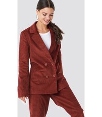 na-kd classic double breasted corduroy blazer - red