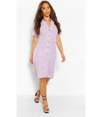 blouse style midi jurk met stippen, lila