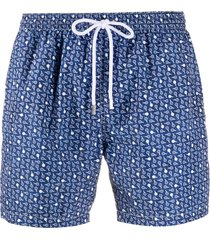 barba tennis racket print swim shorts - blue
