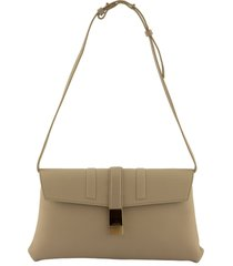 agnona logo plaque shoulder bag beige