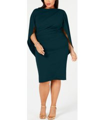 betsy & adam plus size ruched cape dress