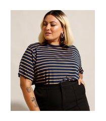 camiseta ampla listrada plus size manga curta decote redondo mindset azul marinho