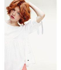 blusa fruncida con lazos en mangas blanco tommy jeans