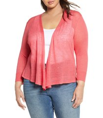 plus size women's nic+zoe 4-way lightweight cardigan, size 1x - coral