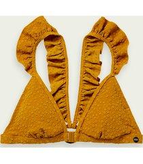 scotch & soda bikinitop met ruches en jacquard