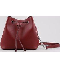 bolsa feminina bucket média transversal alça com corrente vermelha escuro