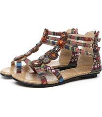 sandali traforati con cristalli perline stampa etnica