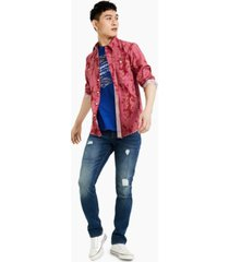sun + stone men's alec regular-fit feather-print shirt, created for macy's