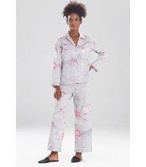 natori kiku sleep pajamas & loungewear set, women's, 100% cotton, size l natori