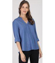 camisa feminina com linho manga longa decote v azul