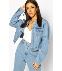 boxy jean jacket, mid blue