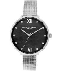 christian siriano women's analog silver-tone mop stainless steel mesh watch 38mm