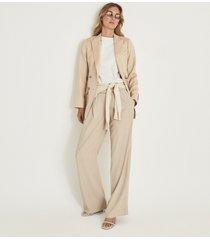 reiss aila - wool linen blend double breasted blazer in neutral, womens, size 14
