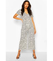 maternity polka dot ruched sleeve jumpsuit, black