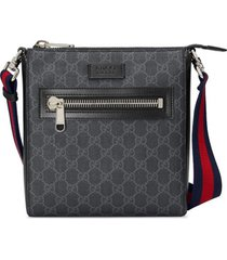 gucci messenger bag 'gg supreme' pequena - preto