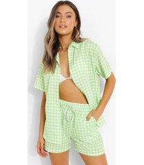 gingham overhemd met korte mouwen en shorts set, green