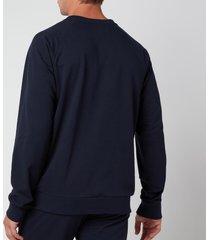 emporio armani men's all over logo terry crew neck sweatshirt - blue - xxl