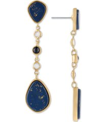 rachel rachel roy gold-tone crystal & stone linear drop earrings
