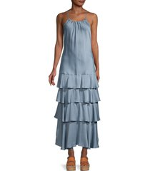 marissa webb women's everleigh tiered crepe dress - smoke blue - size xs