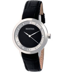 bertha quartz cecelia collection blackleather watch 34mm