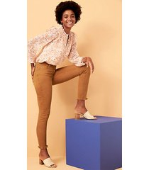 loft frayed high waist skinny crop jeans in bronze brown