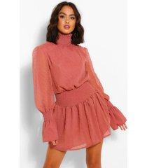 dobby high neckshirred mini dress, dusky pink