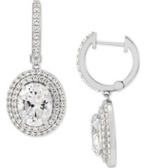 arabella cubic zirconia dangle hoop earrings in sterling silver