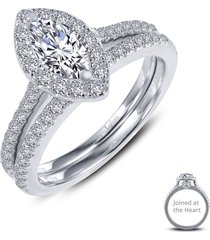 lafonn joined at the heart marquise halo ring, size 9 in silver/clear at nordstrom