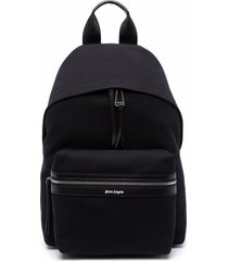 palm angels man black backpack in cotton canvas with micro logo
