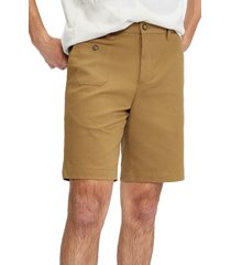 ted baker london national patchwork mixed media stretch cotton shorts, size 34 in brown at nordstrom