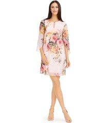 connected petite floral-print chiffon shift dress