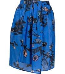christian wijnants abstract-print draped skirt - blue